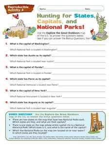 Hunting for States, Capitals, and National Parks Worksheet
