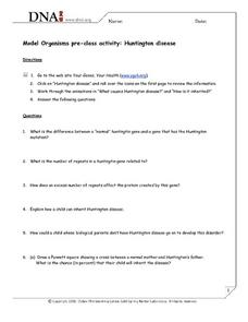 Huntington Disease Worksheet