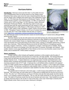 Hurricane Katrina Worksheet