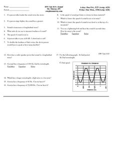 HW Unit 10:5-Sound Worksheet