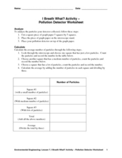 I Breath What? Activity-Pollution Detector Worksheet Lesson Plan