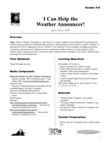 I Can Help the Weather Announcer! Lesson Plan
