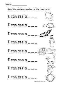 I Can See CVC Words Worksheet