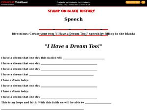 i have a dream too 5th 8th grade worksheet lesson planet. Black Bedroom Furniture Sets. Home Design Ideas