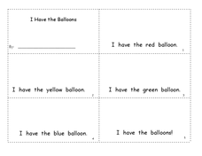 I Have the Balloons Worksheet