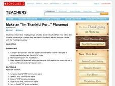 """I'm Thankful For..."" Placemat Lesson Plan"