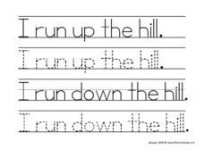 I Run Up the Hill Worksheet