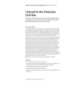 I Served in the American Civil War Lesson Plan