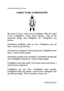 I Want To Be a Firefighter Worksheet