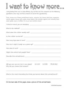 I Want To Know More... Worksheet