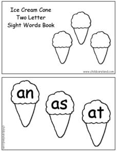 Ice Cream Cone Two Letter Sight Word Book Worksheet