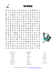Ice Hockey Word Search Worksheet