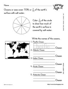 Identify Oceans Worksheet