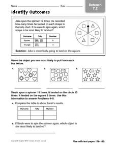 Identify Outcomes reteach 7.2 Worksheet