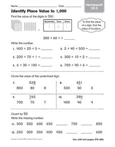Identify Place Value to 1,000: Homework Worksheet