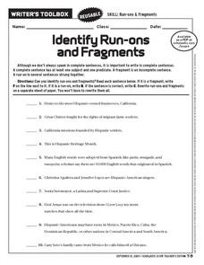 Identify Run-ons and Fragments Worksheet
