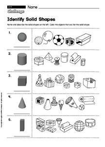 identify solid shapes 2nd 3rd grade worksheet lesson planet. Black Bedroom Furniture Sets. Home Design Ideas