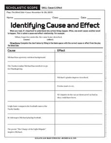 Identifying Cause and Effect Worksheet