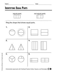 Identifying Equal Parts Worksheet