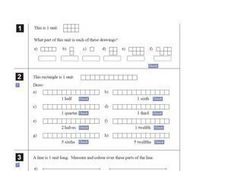 Identifying Fractional Parts of a Whole Unit Worksheet