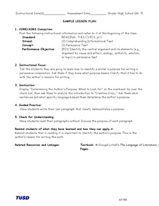 Identifying the Central Argument Lesson Plan