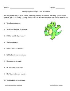 Identifying the Subject in a Sentence Worksheet