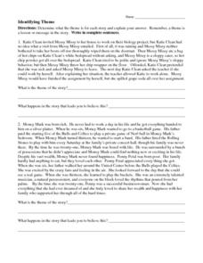 Identifying Theme 7th - 8th Grade Worksheet | Lesson Planet