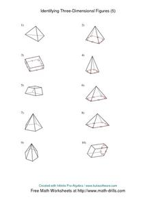 Identifying Three-Dimensional Figures (5) Worksheet