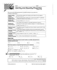 Identity and Equality Properties: Pages 37-43 Lesson Plan