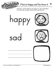 If You're Happy and You Know It - Matching Words and Emotions Worksheet
