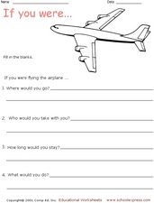 """If You Were Flying The Airplane..."" Writing Activity Worksheet"