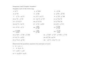 Printables Complex Numbers Worksheet imaginary and complex numbers 11th grade worksheet lesson planet worksheet