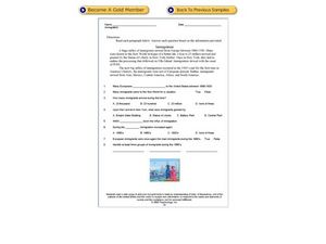 Immigration: Reading Comprehension Worksheet