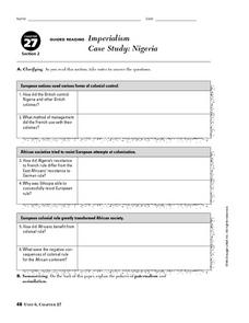 Imperialism Case Study: Nigeria 9th - 10th Grade Worksheet ...