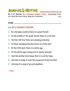 In a Faraway Country--  Story Writing Worksheet