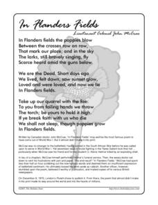 In Flanders Fields and Comprehension Questions Worksheet