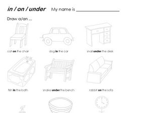 In/On/Under - Drawing Worksheet