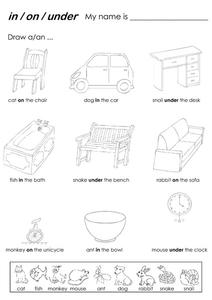 In, On, Under, Prepositions Worksheet