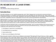 In Search of a Land Ethic Lesson Plan