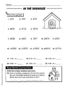 In The Doghouse: Find the Quotient Worksheet