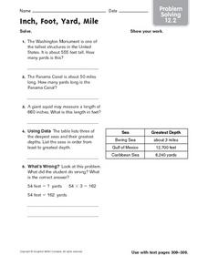 Inch, Foot, Yard, Mile - Problem Solving 12.2 Worksheet