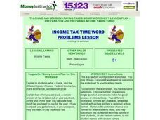 Income Tax Time Word Problems Lesson Lesson Plan