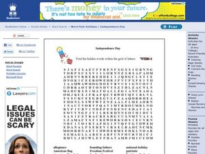 Independence Day: Wordsearch Worksheet