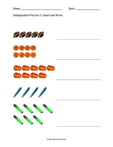 Independent Practice 1:  Count and Write Worksheet