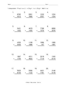 Independent Practice 2: 4 Digit to 4 Digit Addition Worksheet