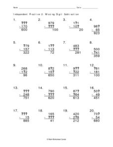 Independent Practice 2: Missing Digit Subtraction Worksheet