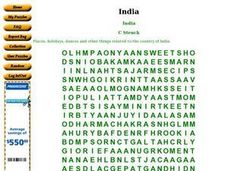 India Word Search Worksheet