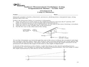 indirect measurement technique using trigonometric ratios 9th 12th grade lesson plan lesson. Black Bedroom Furniture Sets. Home Design Ideas