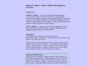Indirect Object- Direct Object Recognition Practice Lesson Plan