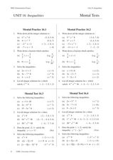 Inequalities: Mental Tests Worksheet